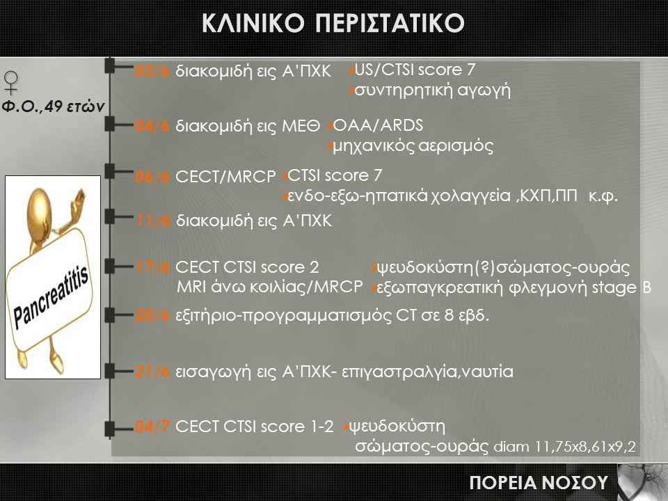 ΚΛΙΝΙΚΟ ΠΕΡΙΣΤΑΤΙΚΟ ♀ ΠΟΡΕΙΑ ΝΟΣΟΥ 03/6 διακομιδή εις Α'ΠΧΚ