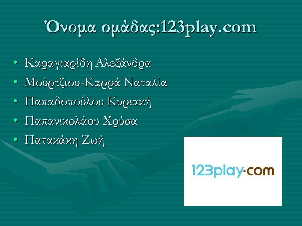 Όνομα ομάδας:123play.com Καραγιαρίδη Αλεξάνδρα Μούρτζιου-Καρρά Ναταλία