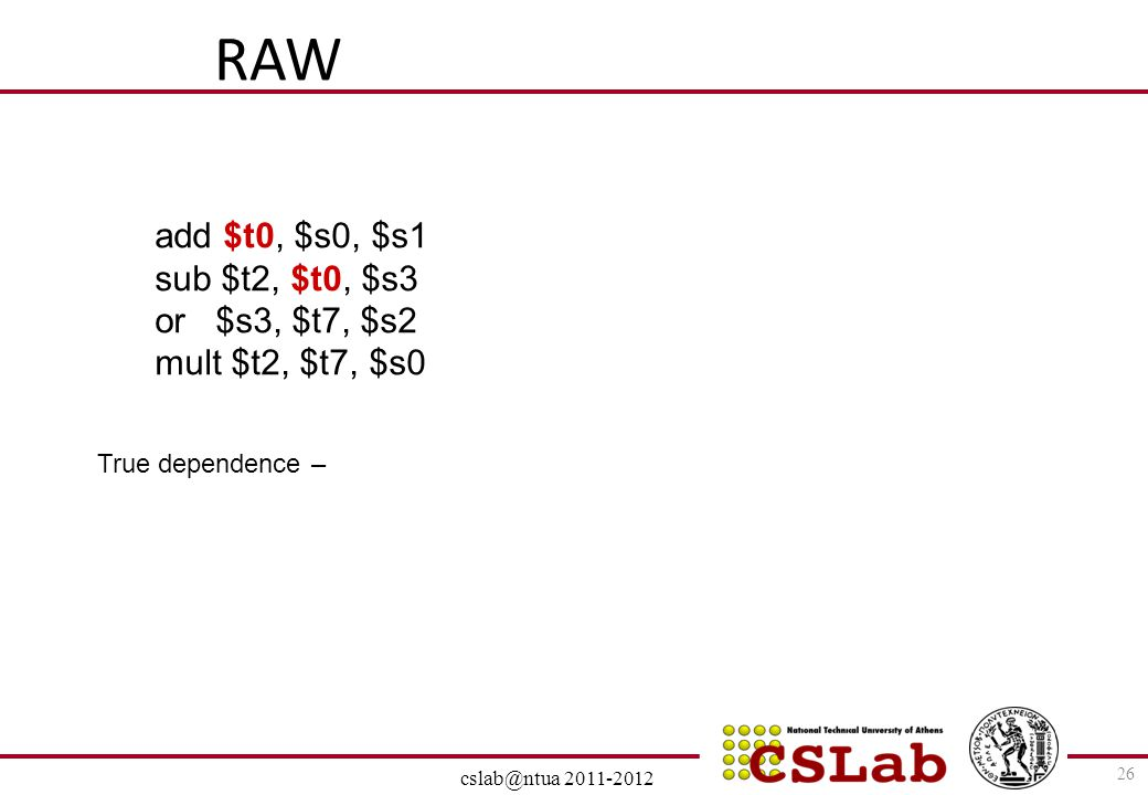 RAW add $t0, $s0, $s1 sub $t2, $t0, $s3 or $s3, $t7, $s2