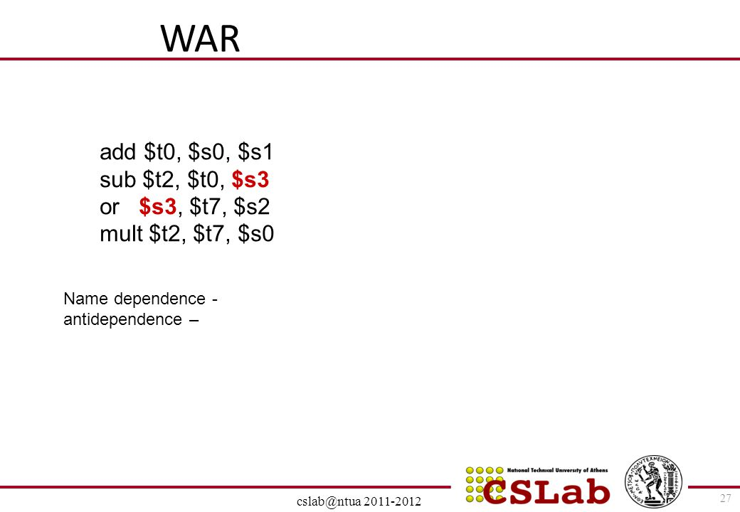 WAR add $t0, $s0, $s1 sub $t2, $t0, $s3 or $s3, $t7, $s2