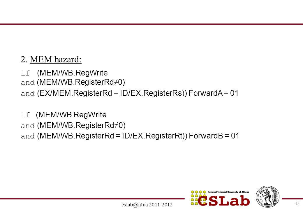 2. MEM hazard: if (MEM/WB.RegWrite and (ΜΕΜ/WΒ.RegisterRd≠0)