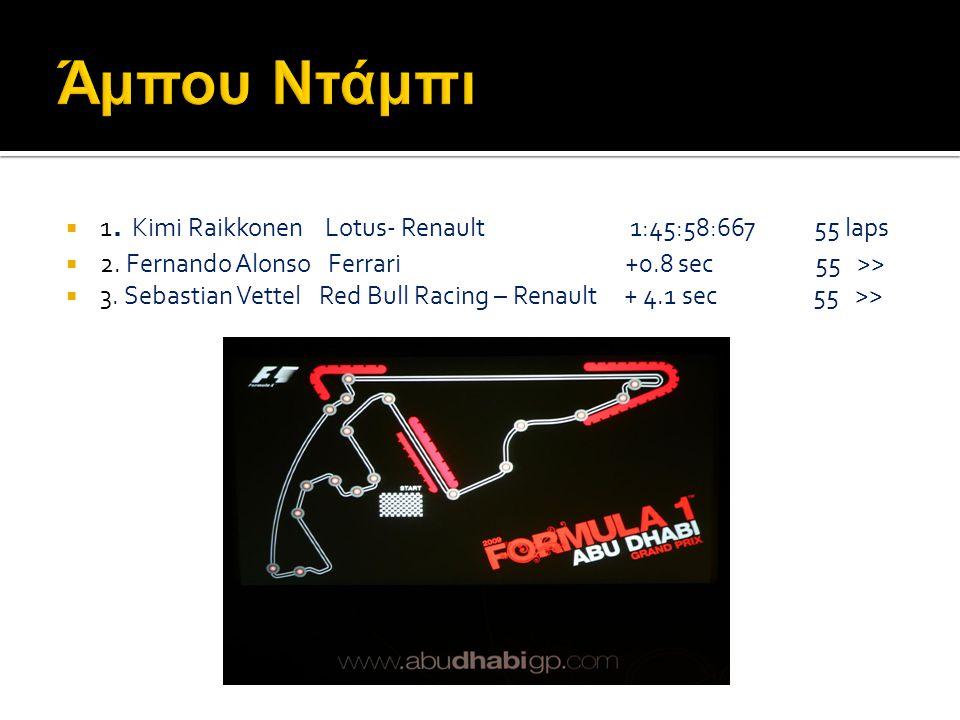Άμπου Ντάμπι 1. Κimi Raikkonen Lotus- Renault 1:45:58:667 55 laps