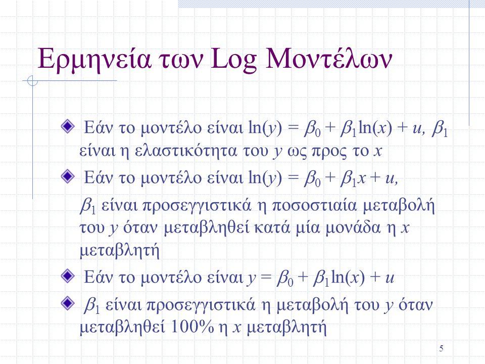 Ερμηνεία των Log Μοντέλων