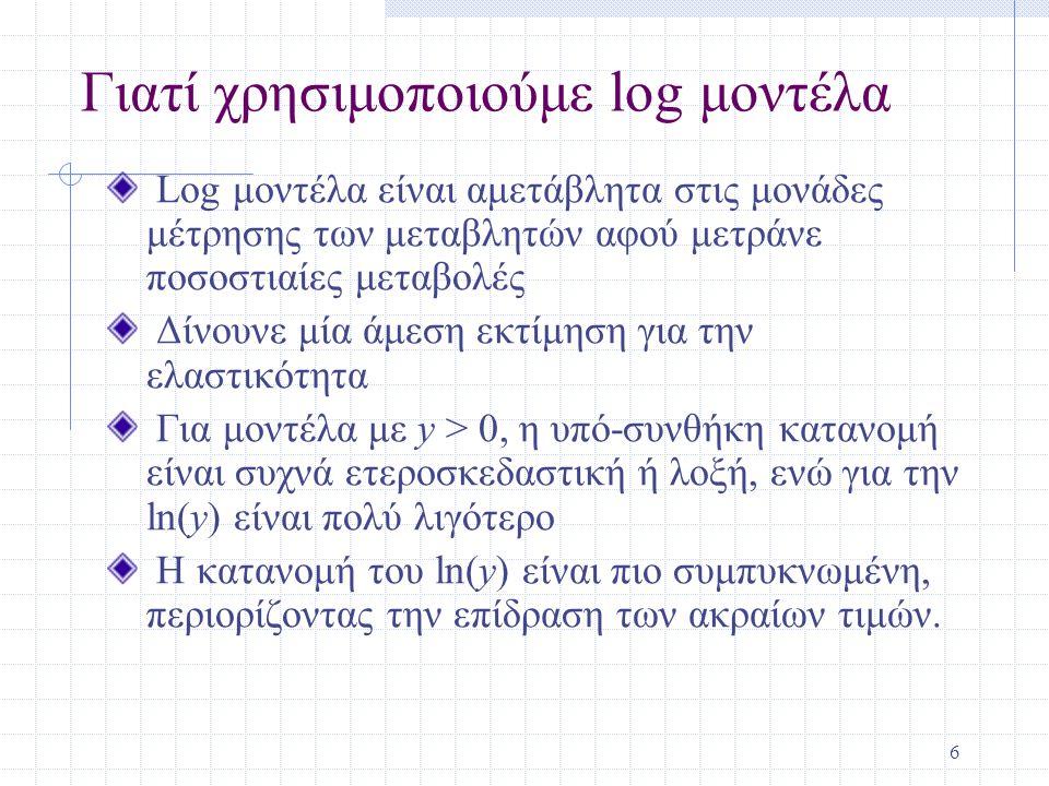 Γιατί χρησιμοποιούμε log μοντέλα