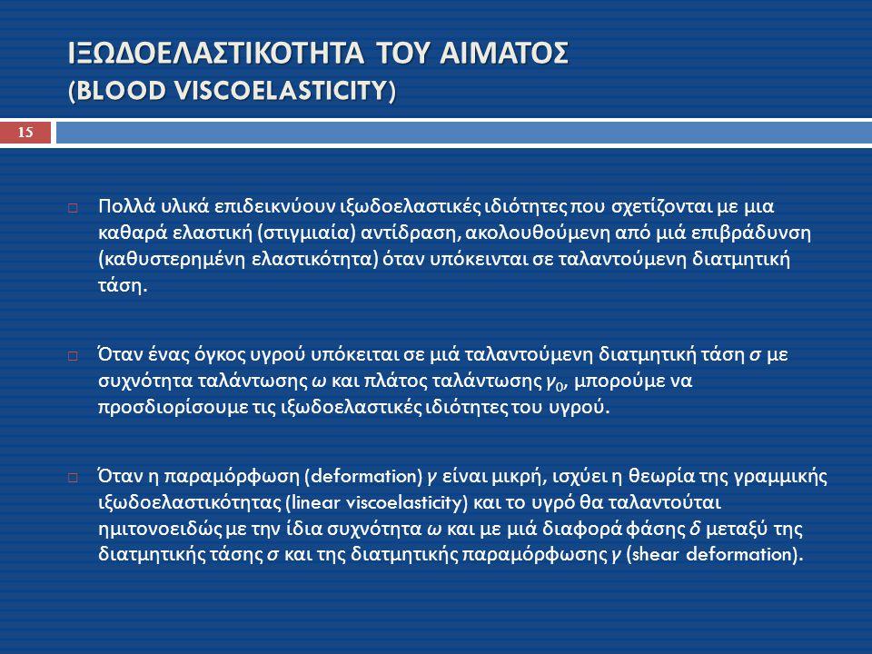 ΙΞΩΔΟΕΛΑΣΤΙΚΟΤΗΤΑ ΤΟΥ ΑΙΜΑΤΟΣ (BLOOD VISCOELASTICITY)