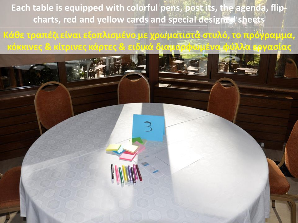 Each table is equipped with colorful pens, post its, the agenda, flip-charts, red and yellow cards and special designed sheets