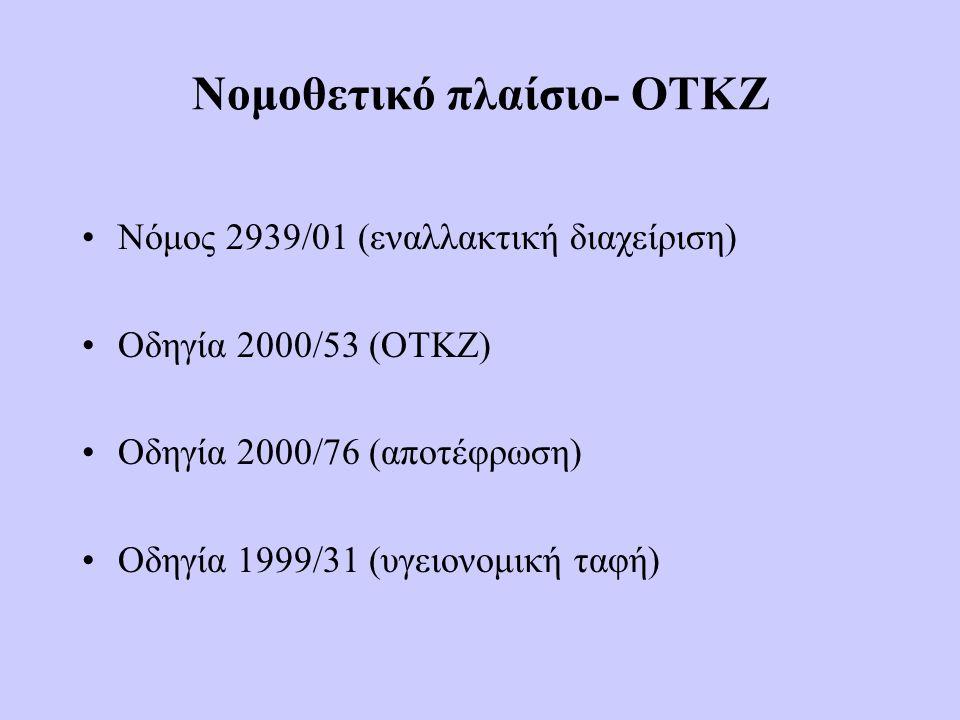 Νομοθετικό πλαίσιο- ΟΤΚΖ