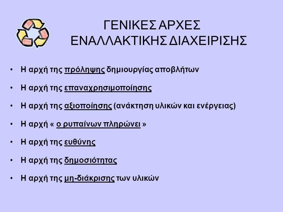 ΓΕΝΙΚΕΣ ΑΡΧΕΣ ΕΝΑΛΛΑΚΤΙΚΗΣ ΔΙΑΧΕΙΡΙΣΗΣ