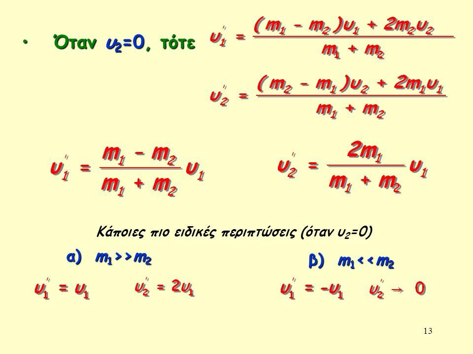 Όταν υ2=0, τότε α) m1>>m2 β) m1<<m2