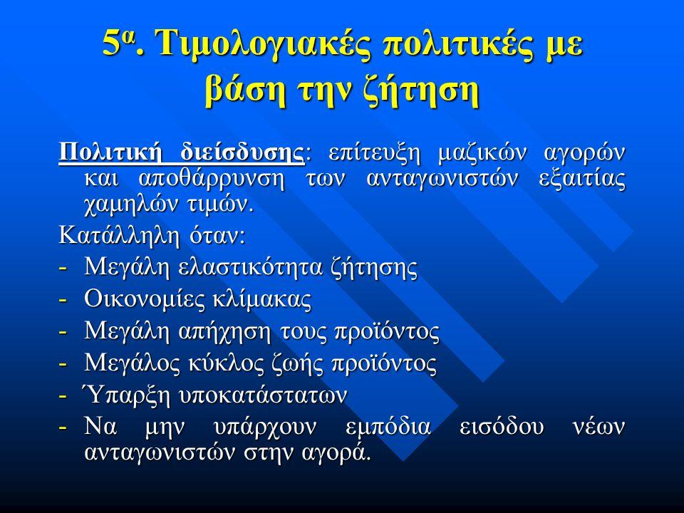 5α. Τιμολογιακές πολιτικές με βάση την ζήτηση