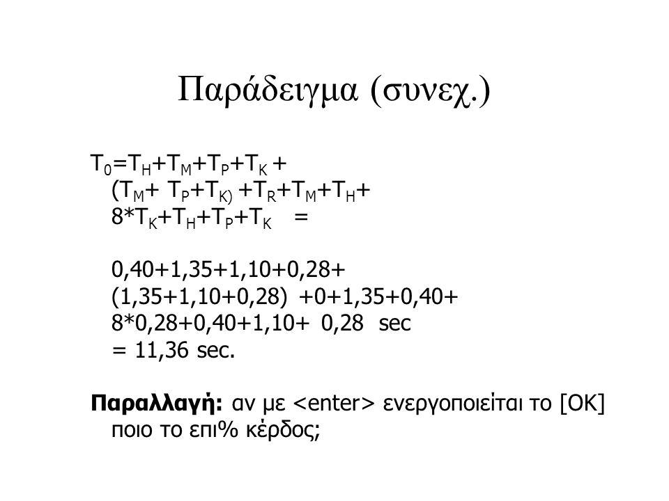 Παράδειγμα (συνεχ.) Τ0=ΤΗ+ΤΜ+TP+ΤΚ + (ΤΜ+ TP+TK) +ΤR+ΤΜ+ΤΗ+