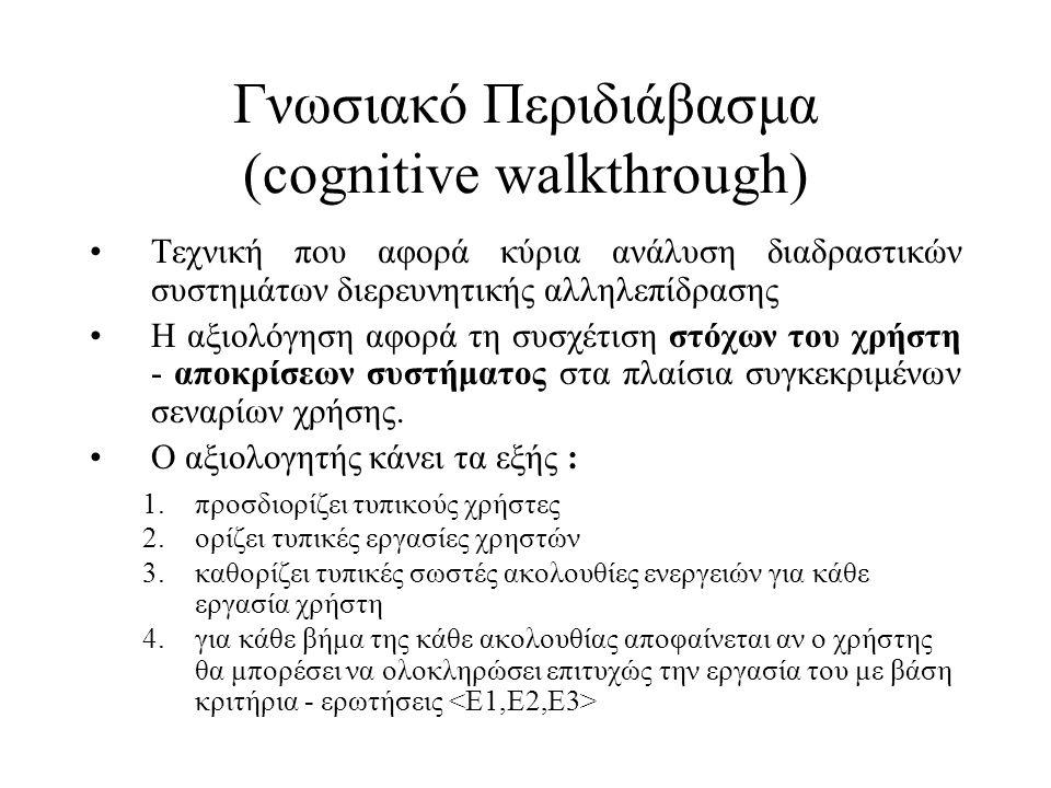 Γνωσιακό Περιδιάβασμα (cognitive walkthrough)