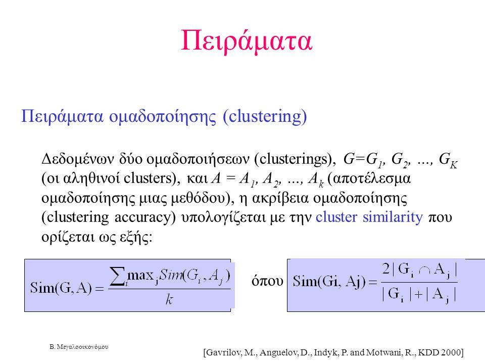 Πειράματα Πειράματα ομαδοποίησης (clustering)