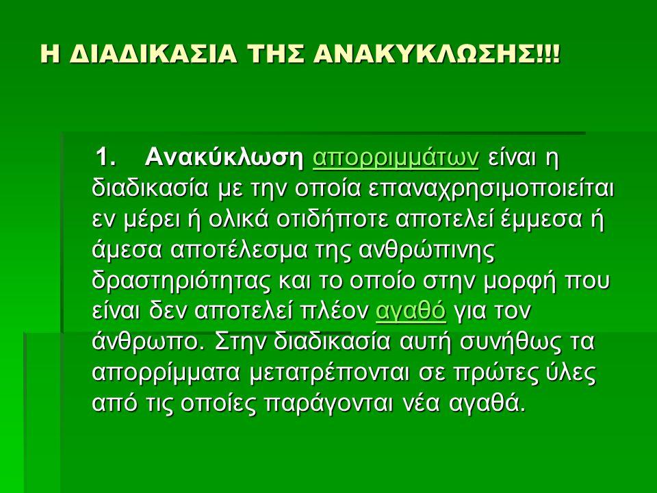 Η ΔΙΑΔΙΚΑΣΙΑ ΤΗΣ ΑΝΑΚΥΚΛΩΣΗΣ!!!