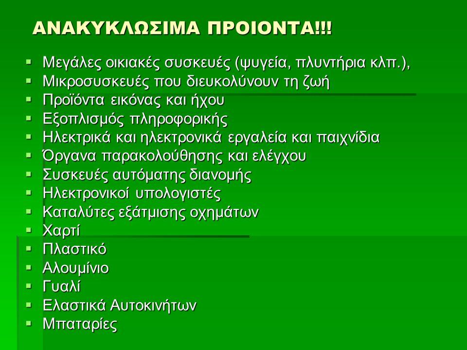 ΑΝΑΚΥΚΛΩΣΙΜΑ ΠΡΟΙΟΝΤΑ!!!