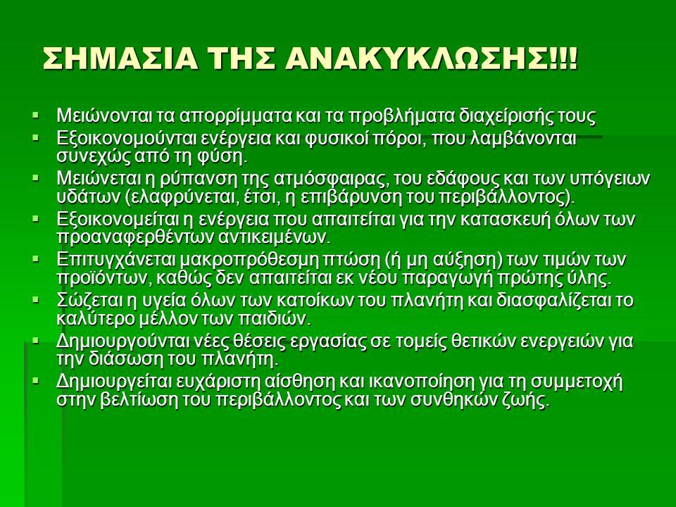 ΣΗΜΑΣΙΑ ΤΗΣ ΑΝΑΚΥΚΛΩΣΗΣ!!!