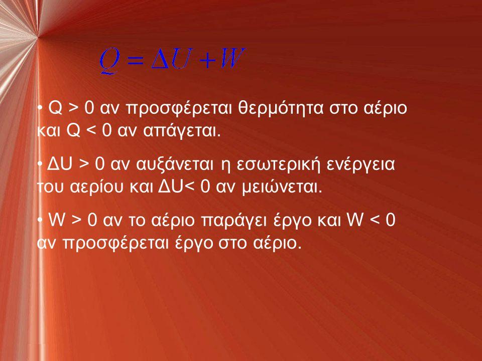Q > 0 αν προσφέρεται θερμότητα στο αέριο και Q < 0 αν απάγεται.