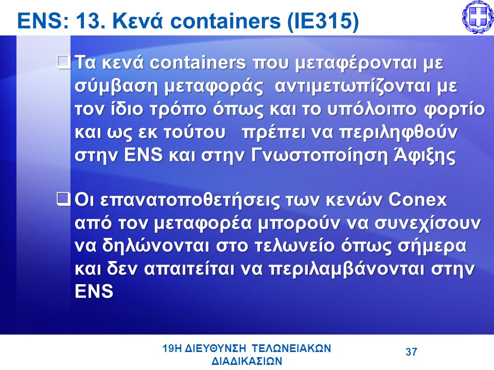 ENS: 13. Κενά containers (IE315)