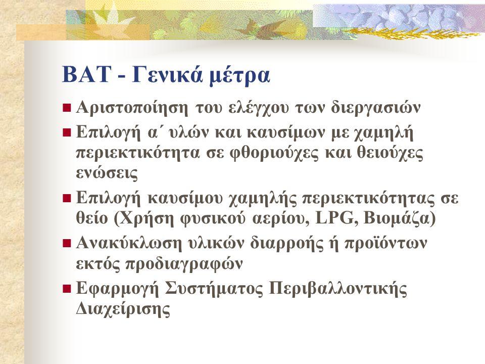 BAT - Γενικά μέτρα Αριστοποίηση του ελέγχου των διεργασιών