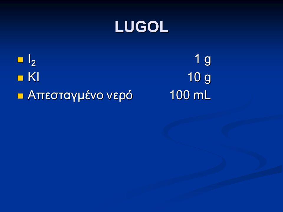 LUGOL I2 1 g KI 10 g Απεσταγμένο νερό 100 mL 22