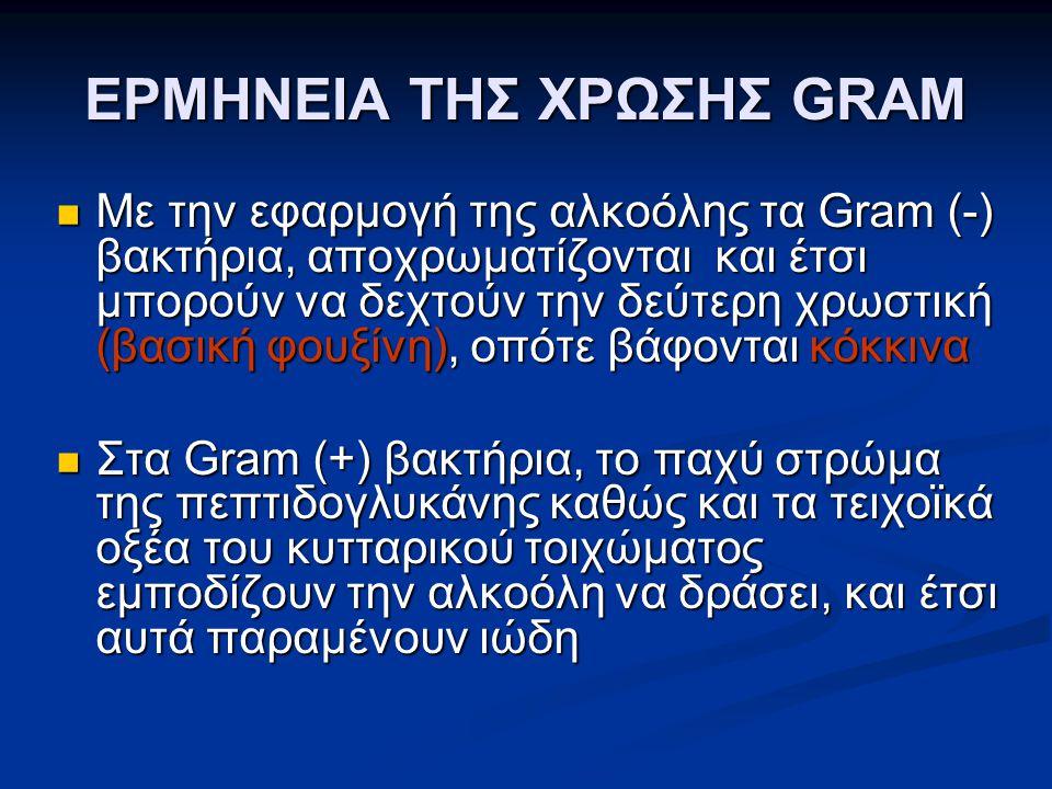 ΕΡΜΗΝΕΙΑ ΤΗΣ ΧΡΩΣΗΣ GRAM