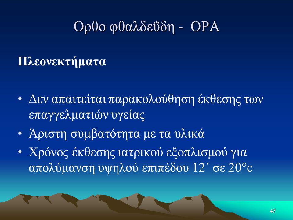 Ορθο φθαλδεΰδη - OPA Πλεονεκτήματα