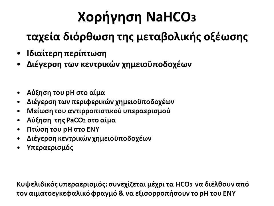 Χορήγηση NaHCO3 ταχεία διόρθωση της μεταβολικής οξέωσης