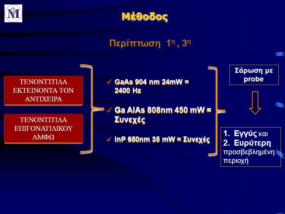 Μέθοδος Περίπτωση 1η , 3η Ga AlAs 808nm 450 mW = Συνεχές Εγγύς και