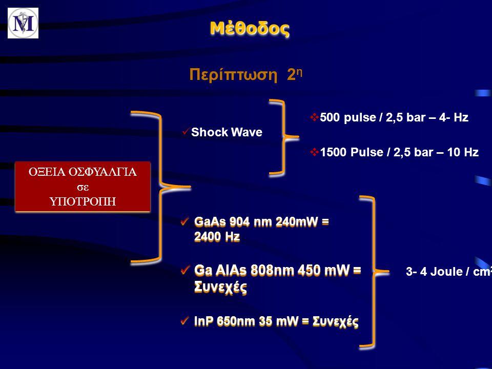 Μέθοδος Περίπτωση 2η Ga AlAs 808nm 450 mW = Συνεχές