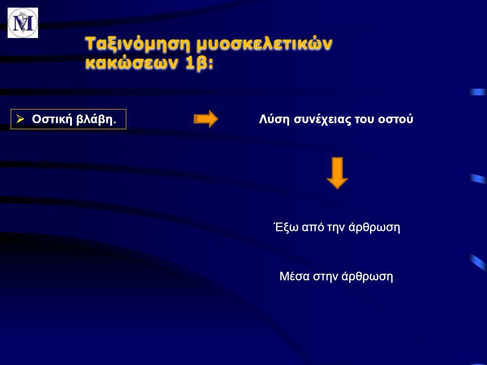 Ταξινόμηση μυοσκελετικών κακώσεων 1β: