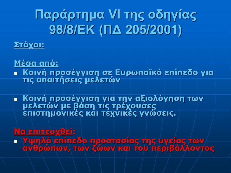Παράρτημα VI της οδηγίας 98/8/EK (ΠΔ 205/2001)