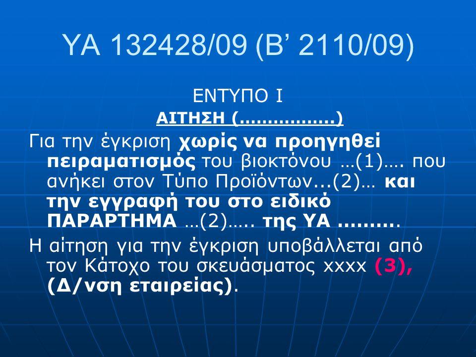 ΥΑ 132428/09 (Β' 2110/09) ΕΝΤΥΠΟ I. ΑΙΤΗΣΗ (……………..)