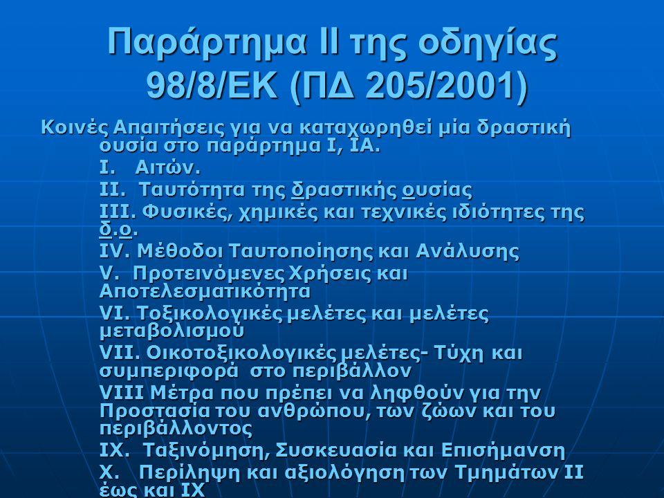 Παράρτημα ΙΙ της οδηγίας 98/8/EΚ (ΠΔ 205/2001)