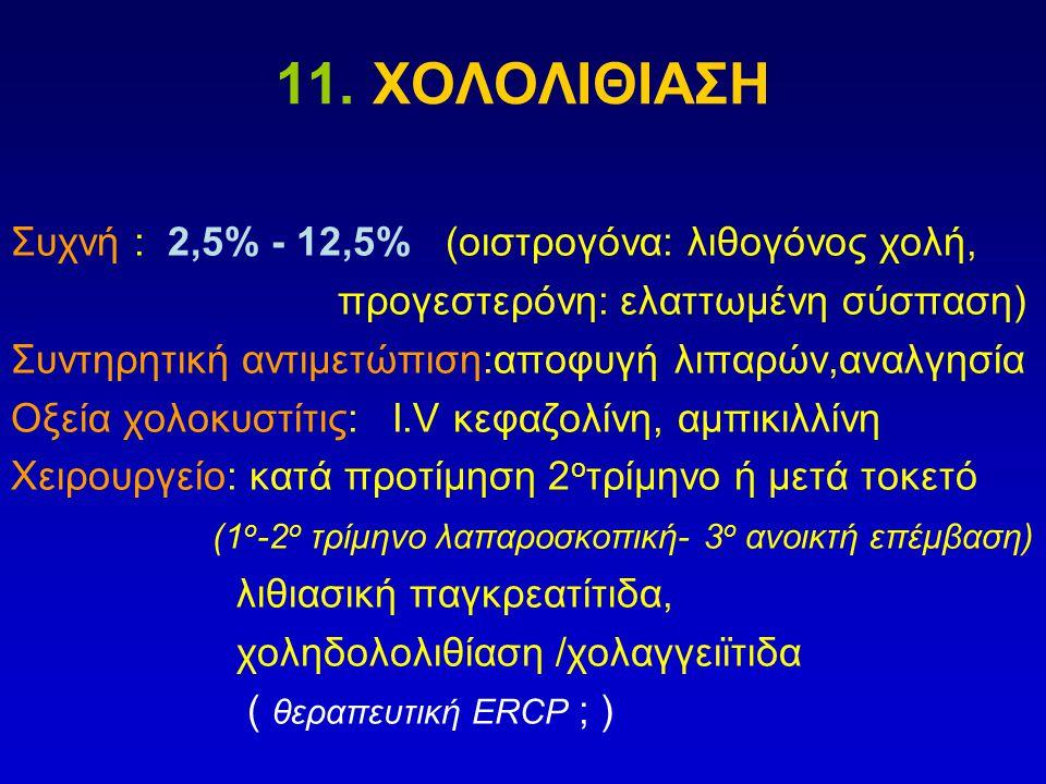 11. ΧΟΛΟΛΙΘΙΑΣΗ Συχνή : 2,5% - 12,5% (οιστρογόνα: λιθογόνος χολή,