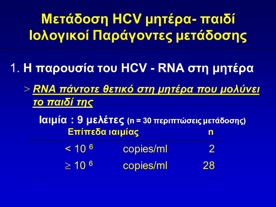 Μετάδοση HCV μητέρα- παιδί Ιολογικοί Παράγοντες μετάδοσης