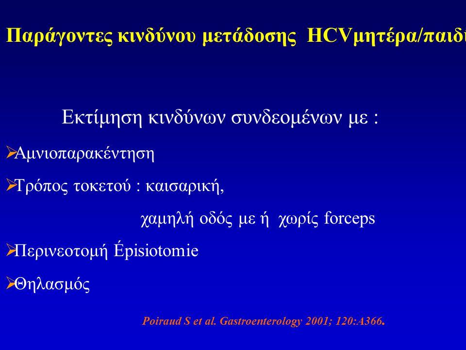Παράγοντες κινδύνου μετάδοσης HCVμητέρα/παιδί