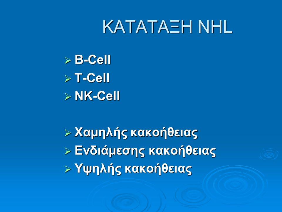 ΚΑΤΑΤΑΞΗ NHL B-Cell T-Cell NK-Cell Χαμηλής κακοήθειας