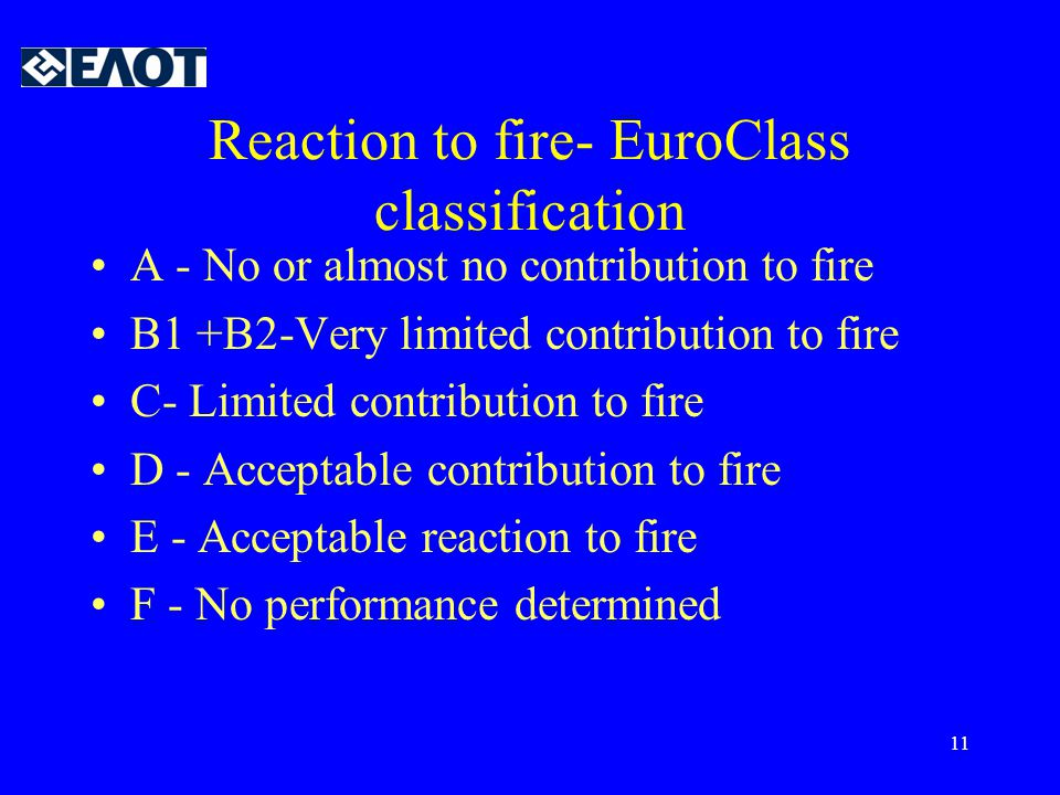 Reaction to fire- EuroClass classification