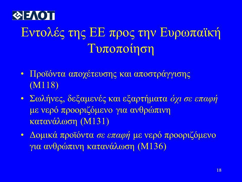 Εντολές της ΕΕ προς την Ευρωπαϊκή Τυποποίηση
