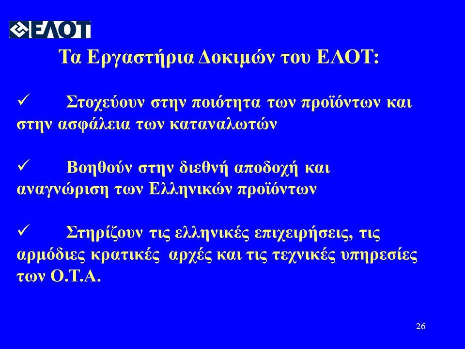 Τα Εργαστήρια Δοκιμών του ΕΛΟΤ: