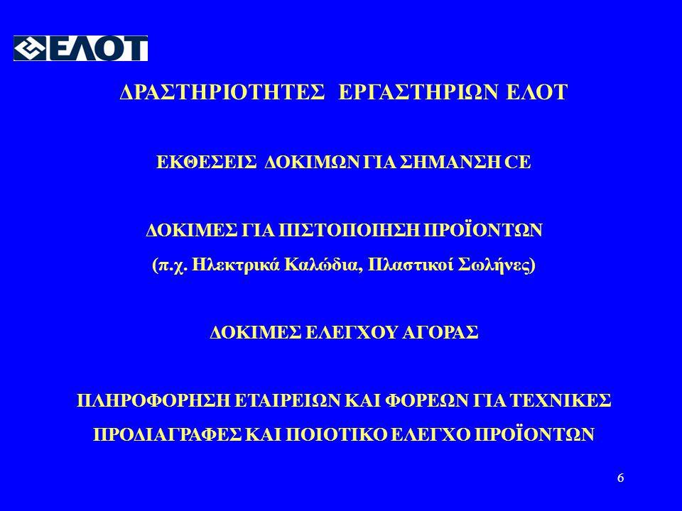 ΔΡΑΣΤΗΡΙΟΤΗΤΕΣ ΕΡΓΑΣΤΗΡΙΩΝ ΕΛΟΤ