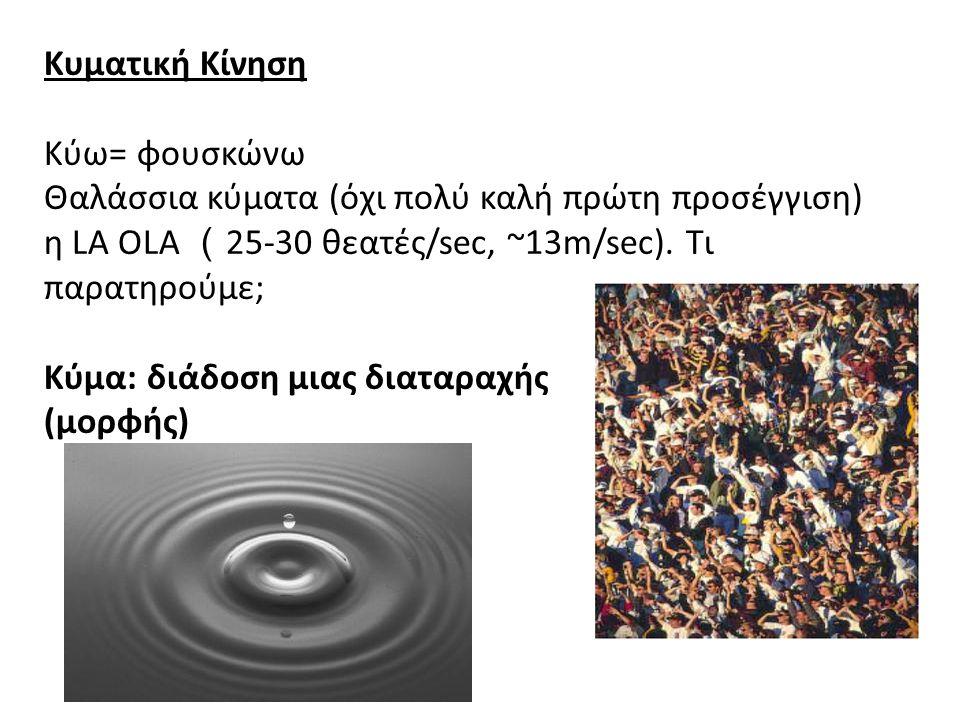 Κυματική Κίνηση Κύω= φουσκώνω Θαλάσσια κύματα (όχι πολύ καλή πρώτη προσέγγιση) η LA OLA (25-30 θεατές/sec, ~13m/sec). Τι παρατηρούμε; Κύμα: διάδοση μιας διαταραχής