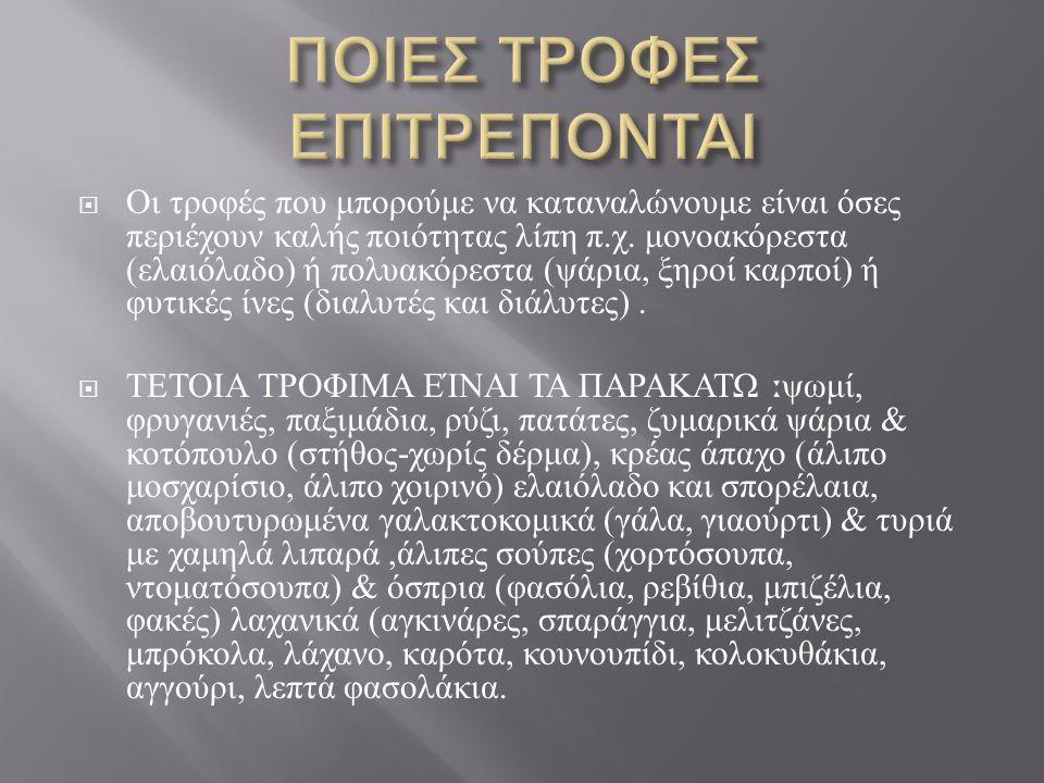 ΠΟΙΕΣ ΤΡΟΦΕΣ ΕΠΙΤΡΕΠΟΝΤΑΙ