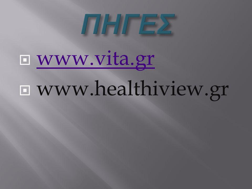 ΠΗΓΕΣ www.vita.gr www.healthiview.gr