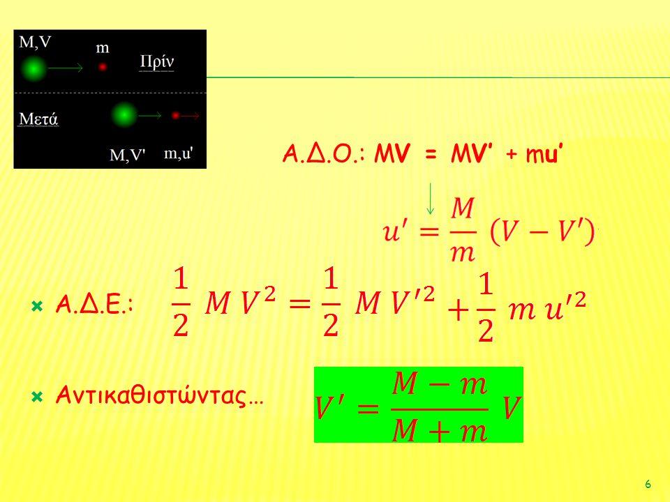 Α.Δ.Ο.: MV = MV' + mu' Α.Δ.Ε.: Αντικαθιστώντας…