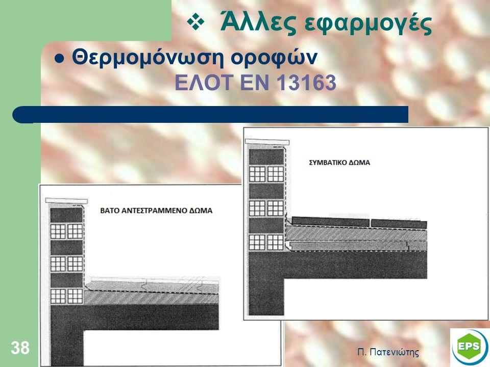 Άλλες εφαρμογές Θερμομόνωση οροφών ΕΛΟΤ ΕΝ 13163 Π. Πατενιώτης
