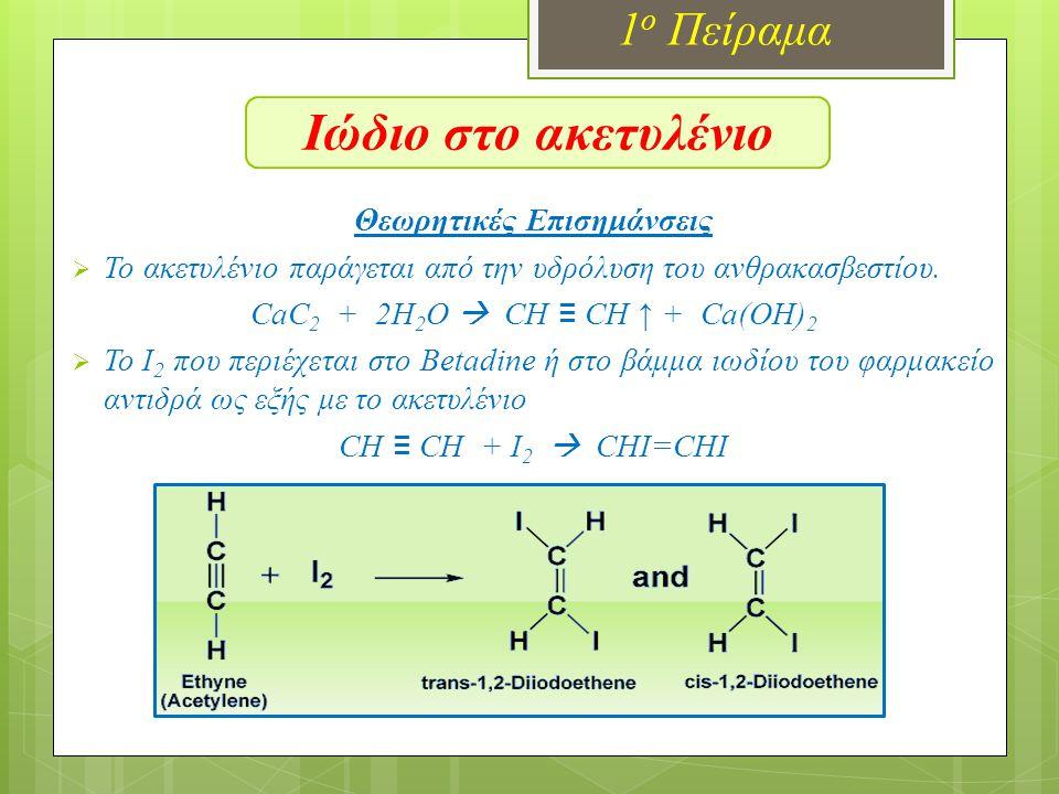 Ιώδιο στο ακετυλένιο 1ο Πείραμα Θεωρητικές Επισημάνσεις