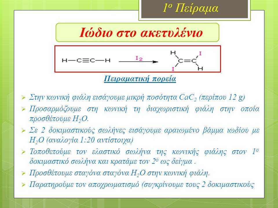 Ιώδιο στο ακετυλένιο 1ο Πείραμα Πειραματική πορεία