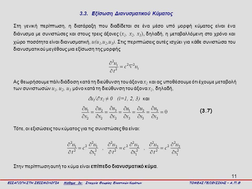 3.3. Εξίσωση Διανυσματικού Κύματος