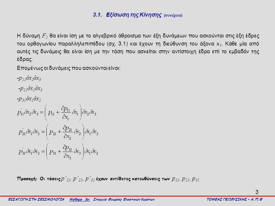 3.1. Εξίσωση της Κίνησης (συνέχεια)